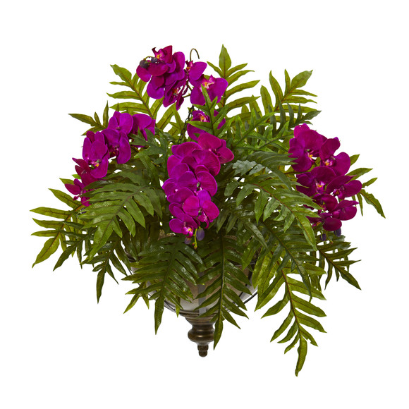 Phalaenopsis Orchid and Fern Artificial Plant in Metal Hanging Bowl - SKU #8801