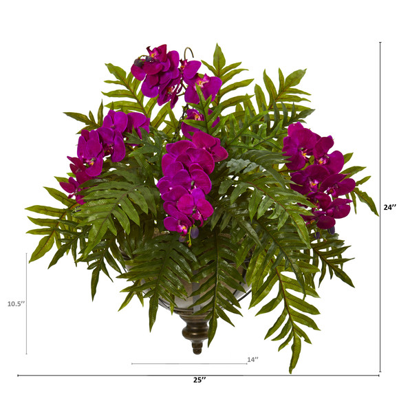 Phalaenopsis Orchid and Fern Artificial Plant in Metal Hanging Bowl - SKU #8801 - 1