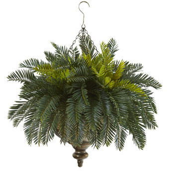 Cycas Artificial Plant in Metal Hanging Bowl - SKU #8802