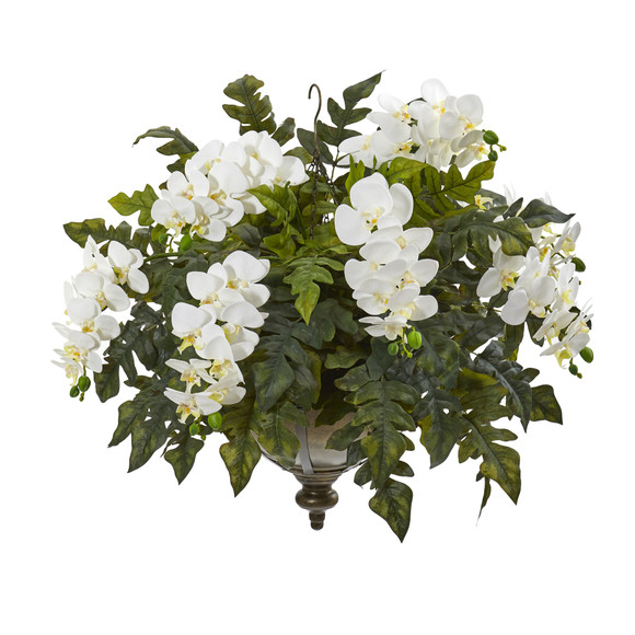 25 Phalaenopsis Orchid and Holly Fern Artificial Plant in Metal Hanging Bowl - SKU #8803 - 2