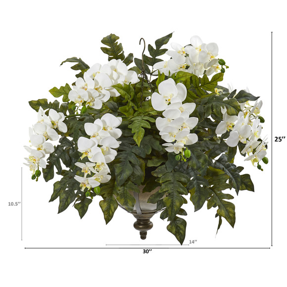 25 Phalaenopsis Orchid and Holly Fern Artificial Plant in Metal Hanging Bowl - SKU #8803 - 3