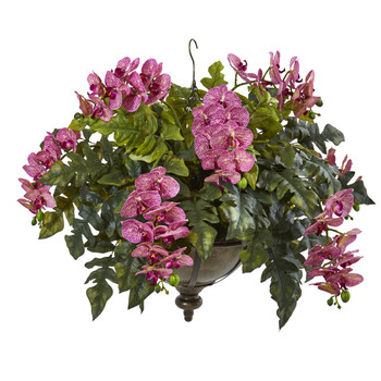 25 Phalaenopsis Orchid and Holly Fern Artificial Plant in Metal Hanging Bowl - SKU #8803-PC