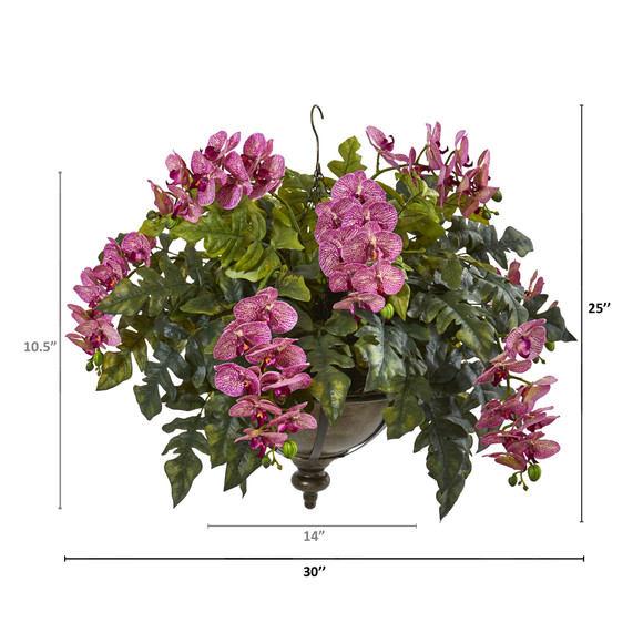 25 Phalaenopsis Orchid and Holly Fern Artificial Plant in Metal Hanging Bowl - SKU #8803 - 5