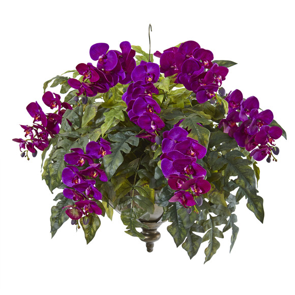 25 Phalaenopsis Orchid and Holly Fern Artificial Plant in Metal Hanging Bowl - SKU #8803
