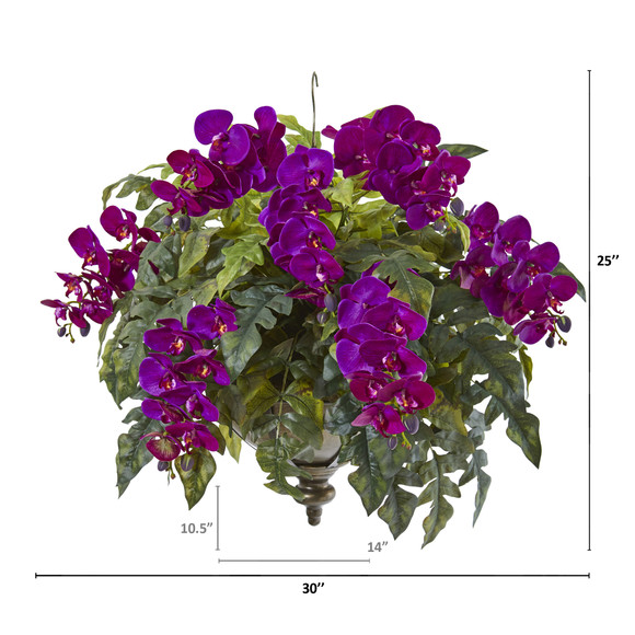 25 Phalaenopsis Orchid and Holly Fern Artificial Plant in Metal Hanging Bowl - SKU #8803 - 1