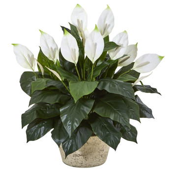 35 Spathifyllum Artificial Plant in White Planter - SKU #8804