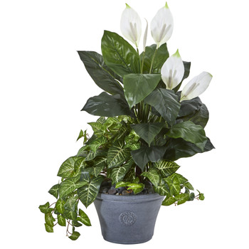 39 Spathifyllum and Nepthytis Artificial Plant in Gray Planter - SKU #8805