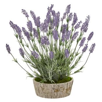 20 Lavender Artificial Plant in Weathered Oak Planter - SKU #8811