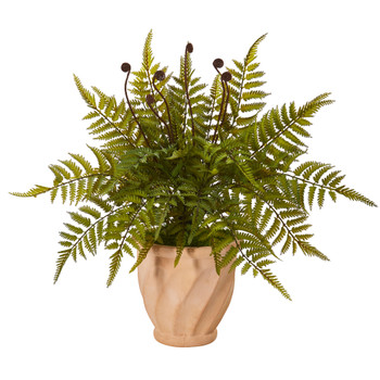 22 Fern Artificial Plant in Orange Planter - SKU #8812