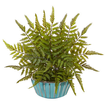 12 Fern Artificial Plant in Turquoise Bowl with Silver Trimming - SKU #8813