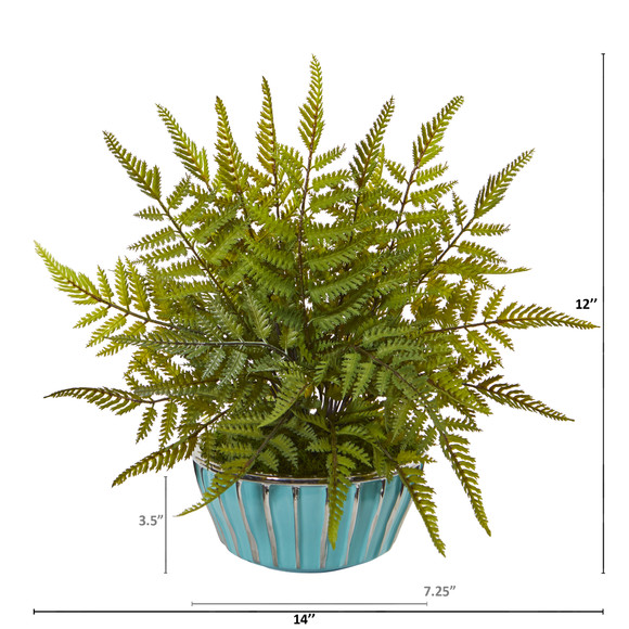 12 Fern Artificial Plant in Turquoise Bowl with Silver Trimming - SKU #8813 - 1