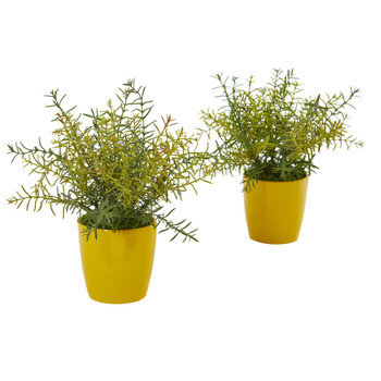 12 Rosemary Artificial Plant in Yellow Planter Set of 2 - SKU #8815-S2