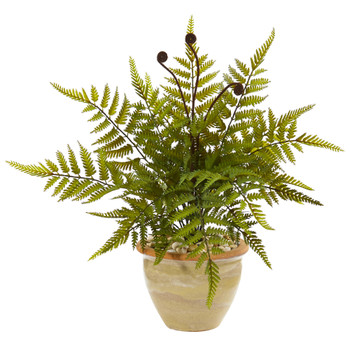 18 Fern Artificial Plant in Ceramic Planter - SKU #8816