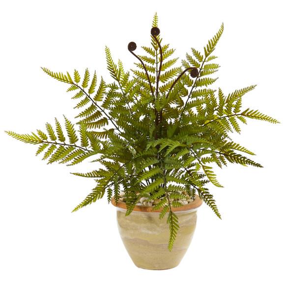 18 Fern Artificial Plant in Ceramic Planter - SKU #8816