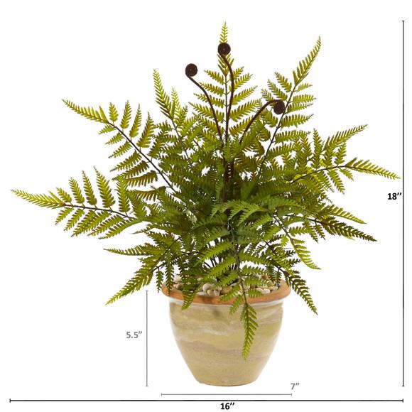 18 Fern Artificial Plant in Ceramic Planter - SKU #8816 - 1