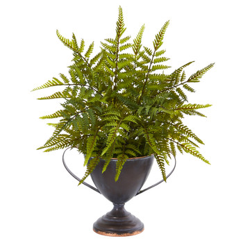 15 Fern Artificial Plant in Metal Goblet - SKU #8817