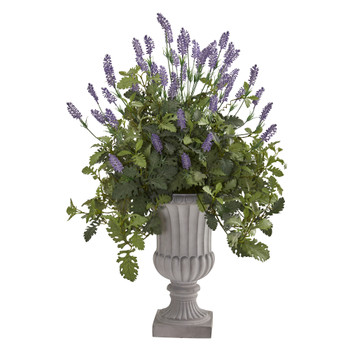 35 Lavender and Dusty Miller Artificial Plant in Urn - SKU #8818