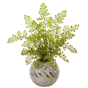 17 Maiden Hair Artificial Plant in Decorative Vase - SKU #8819