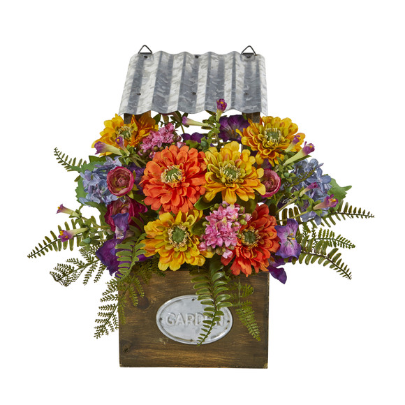 Mixed Flowers Artificial Plant in Tin Roof Planter - SKU #8820