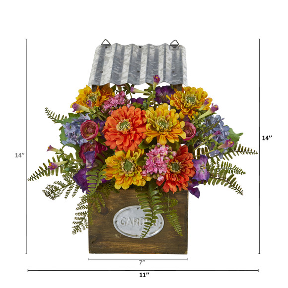 Mixed Flowers Artificial Plant in Tin Roof Planter - SKU #8820 - 1