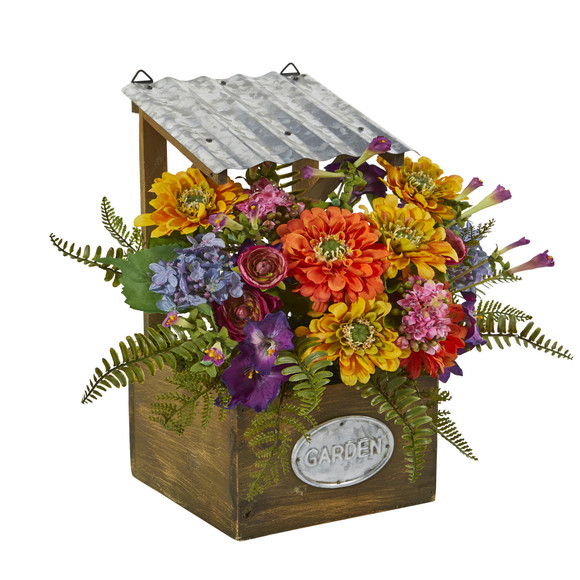 Mixed Flowers Artificial Plant in Tin Roof Planter - SKU #8820 - 2
