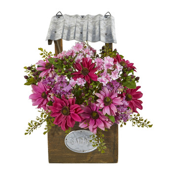 14 Mixed Daisy Artificial Plant in Tin Roof Planter - SKU #8821