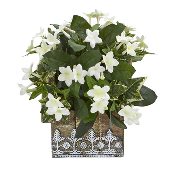 10 Mix Stephanotis and Ivy Artificial Plant in Hanging Floral Design House Planter - SKU #8824