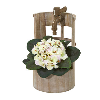 12 African Violet Artificial Plant in Faucet Planter - SKU #8828-CP