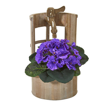 12 African Violet Artificial Plant in Faucet Planter - SKU #8828
