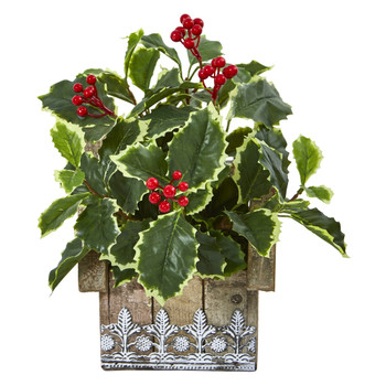 12 Variegated Holly Leaf Artificial Plant in Hanging Floral Design House Planter Real Touch - SKU #8830
