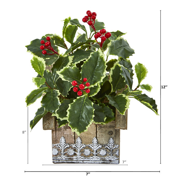 12 Variegated Holly Leaf Artificial Plant in Hanging Floral Design House Planter Real Touch - SKU #8830 - 1