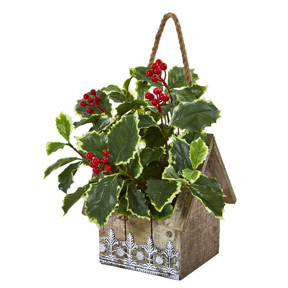 12 Variegated Holly Leaf Artificial Plant in Hanging Floral Design House Planter Real Touch - SKU #8830 - 2