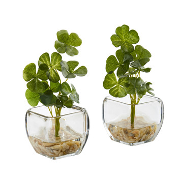9 Clover Artificial Plant in Glass Planter Set of 2 - SKU #8833-S2