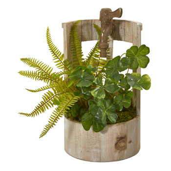 12 Clover and Fern Artificial Plant in Faucet Planter - SKU #8837