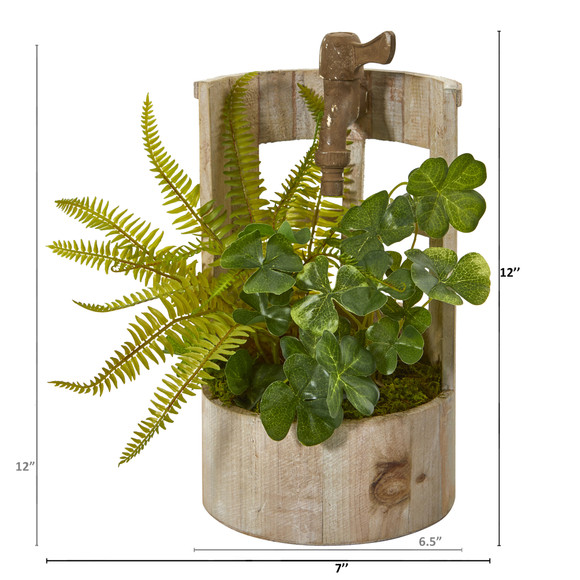 12 Clover and Fern Artificial Plant in Faucet Planter - SKU #8837 - 1