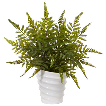 16 Fern Artificial Plant in White Planter - SKU #8841
