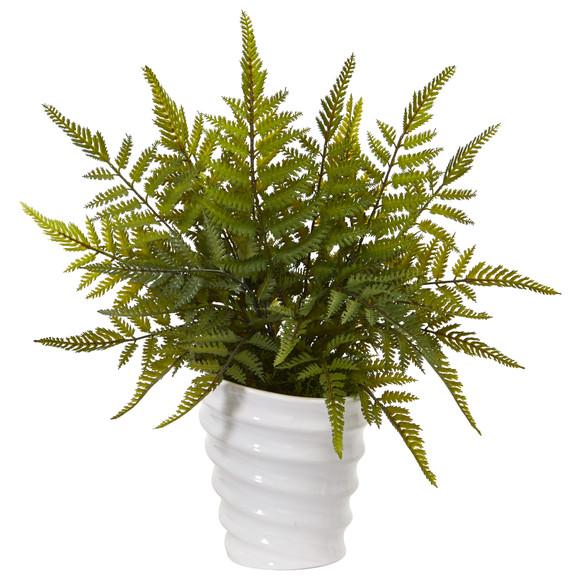 16 Fern Artificial Plant in White Planter - SKU #8841