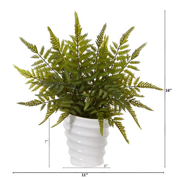 16 Fern Artificial Plant in White Planter - SKU #8841 - 1