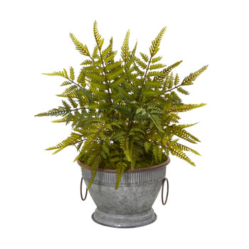 15 Fern Artificial Plant in Vintage Metal Bowl with Copper Trimming - SKU #8842