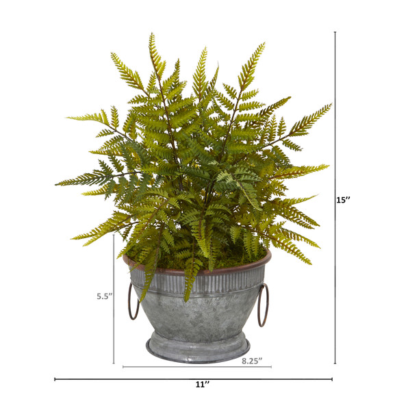 15 Fern Artificial Plant in Vintage Metal Bowl with Copper Trimming - SKU #8842 - 1