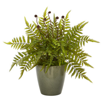 20 Fern Artificial Plant in Olive Green Planter - SKU #8844