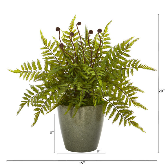 20 Fern Artificial Plant in Olive Green Planter - SKU #8844 - 1