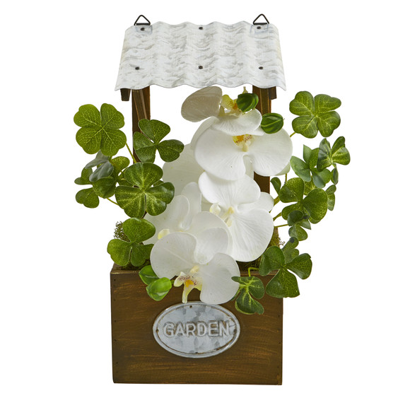 Phalaenopsis Orchid Artificial Plant in Tin Roof Planter - SKU #8849-WH