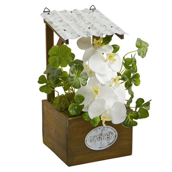 Phalaenopsis Orchid Artificial Plant in Tin Roof Planter - SKU #8849-WH - 2