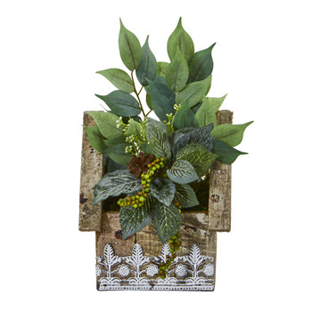 12 Mixed Ficus and Fittonia Artificial Plant in Hanging Floral Design House Planter - SKU #8850