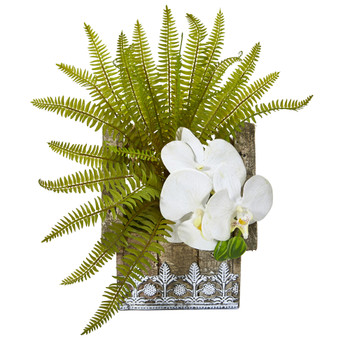 13 Phalaenopsis Orchid and Fern Artificial Plant in Hanging Floral Design House Planter - SKU #8852-WH