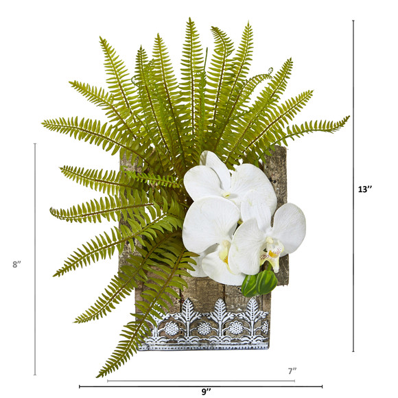 13 Phalaenopsis Orchid and Fern Artificial Plant in Hanging Floral Design House Planter - SKU #8852-WH - 1