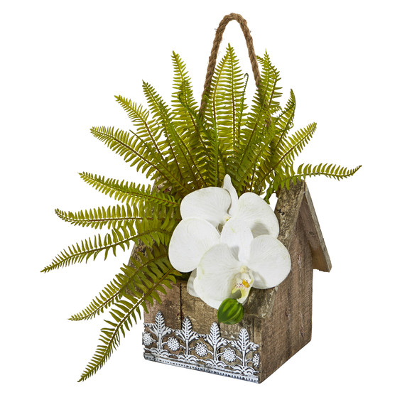 13 Phalaenopsis Orchid and Fern Artificial Plant in Hanging Floral Design House Planter - SKU #8852-WH - 2