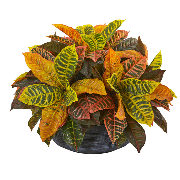 23 Garden Croton Artificial Plant in Decorative Bowl Real Touch - SKU #8854