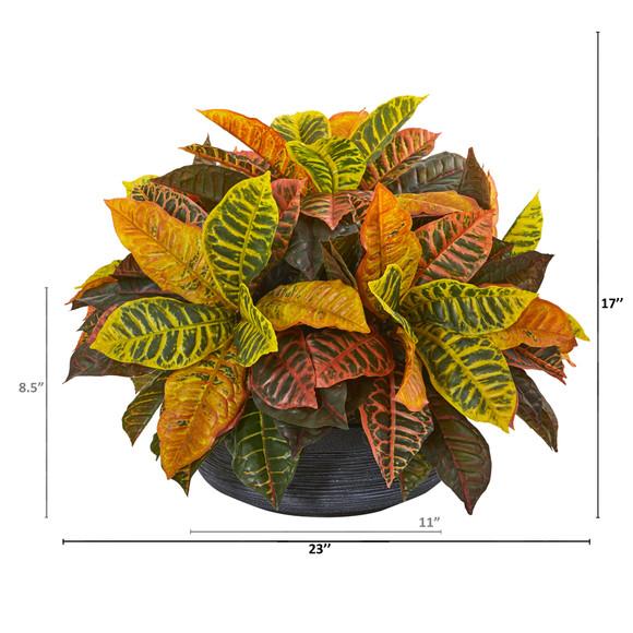 23 Garden Croton Artificial Plant in Decorative Bowl Real Touch - SKU #8854 - 1